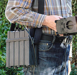Timbre & Luces mobile battery packs are relatively lightweight, and each comes with a shoulder strap.